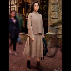 NWT Uniqlo Soufflé Wool Sweater Skirt in Beige